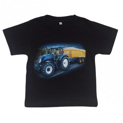 T-shirt Blå traktor med släp