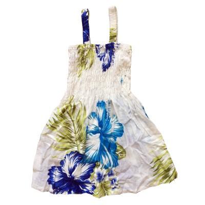Klänning Vit med blå blommor