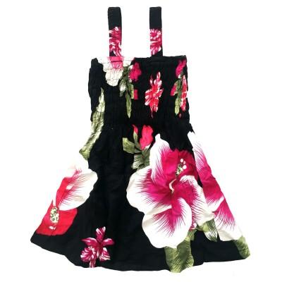 Klänning Svart med rosa blommor