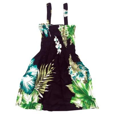 Klänning Svart med gröna blommor